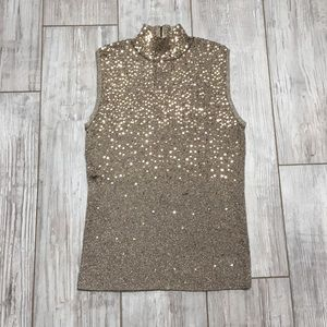 Gold sequin architect  muscle turtleneck blouse